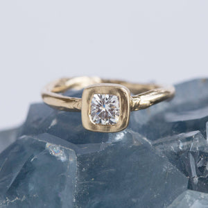 Square Moissanite Yellow Gold Engagement Ring - Hand Carved Forever One Moissanite Engagement Ring in 14k Recycled Gold by Anueva Jewelry