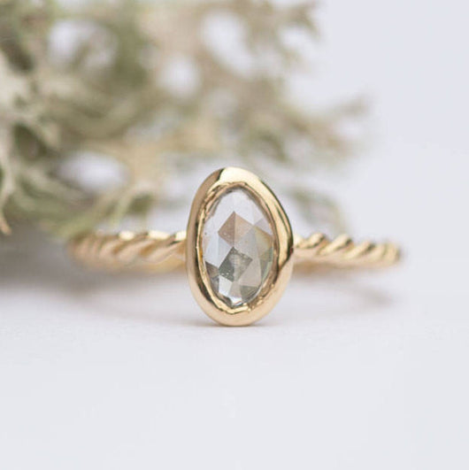 Rosecut White Sapphire Rope Twist Ring - Hand carved yellow gold ring in recycled gold - white rosecut  -  Unique Engagement Ring by Anueva