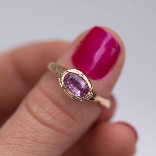 Pink Sapphire Rose Gold Ring - Hand carved rose gold ring in recycled gold - pink sapphire  -  Unique Engagement Ring by Anueva Jewelry