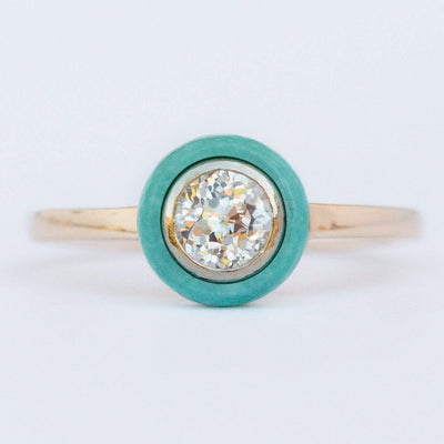 Custom Order-  Old European Cut Diamond and Turquoise Halo Engagement Ring