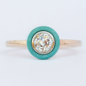 Custom Order-  0.54ct Crown Jubilee Diamond and Turquoise Halo Ring- Reserved for E.K