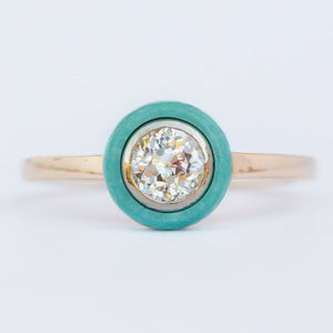 Anueva Jewelry Turquoise Halo ring Crown Jubilee Diamond