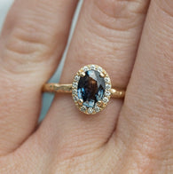 Blue Sapphire Halo Ring by Anueva Jewelry