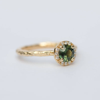evergreen sapphire halo recycled gold engagement ring