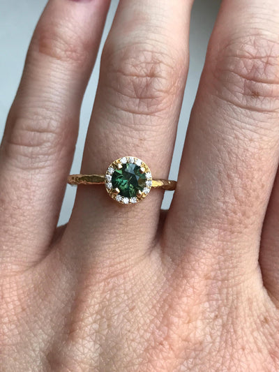 Diamond and Green Sapphire Engagement Ring in Hand Carved Recycled Yellow Gold Earthy Setting - Emerald Sapphire Engagement Ring by Anueva