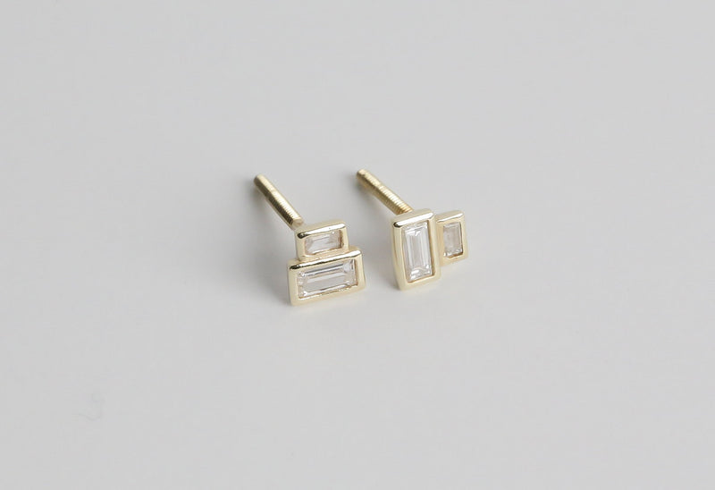 Baguette diamond earrings - geometric recycled diamond earrings - modern diamond studs - minimalist- Reclaimed diamonds by Anueva Jewelry