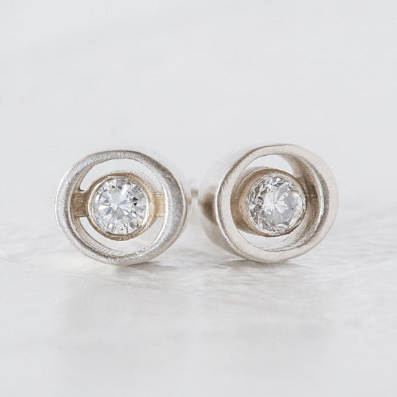 Sustainable Round Diamond Earrings: Vintage diamonds in a modern and chic ellipse design - Small diamond studs by Anueva Jewelry