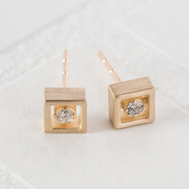 Square Diamond Earrings - Floating Diamond Earrings - Vintage Inspired Earrings - Geometric Diamond Earrings by Anueva Jewelry