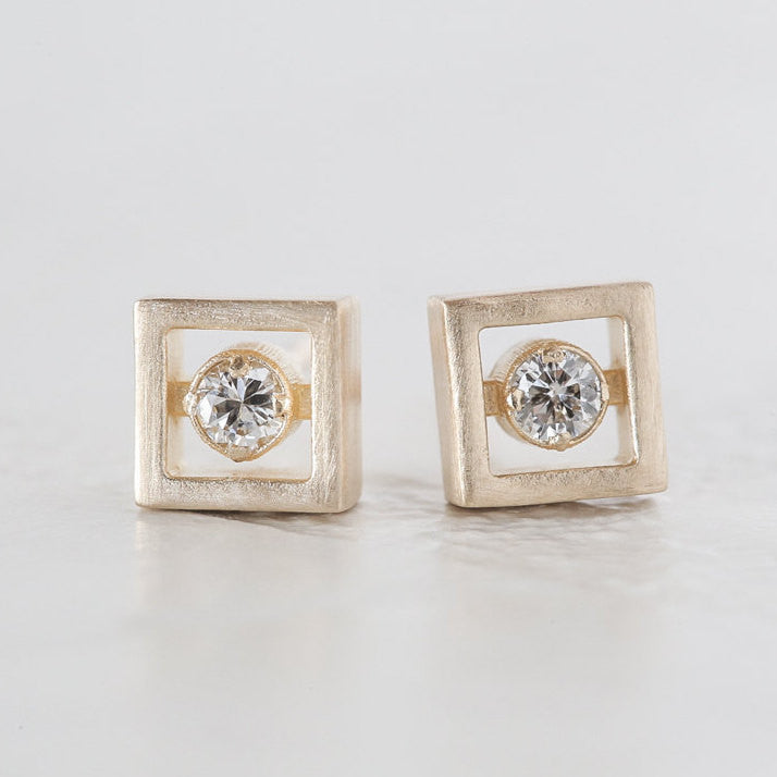 Geometric Diamond Earrings - Square Diamond Earrings - Vintage Inspired Earrings - Eco Friendly Earrings - Minimalist Diamond Earrings