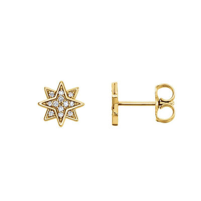 SAMPLE SALE- Solid Gold Star Diamond Earrings - Conflict free natural diamonds in a white gold cluster antique star earring design