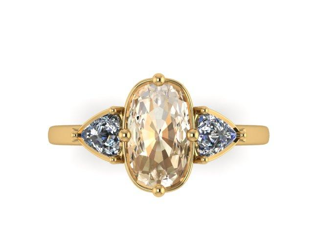Custom Order- Three Stone Yellow Gold Diamond Engagement Ring