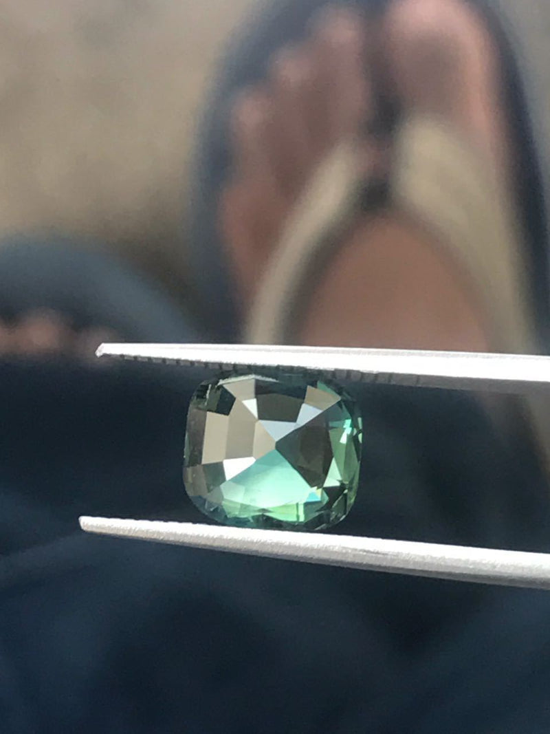 Custom Order- 2.5ct Madagascar Green Cushion Sapphire for Custom Ring. Reserved for April