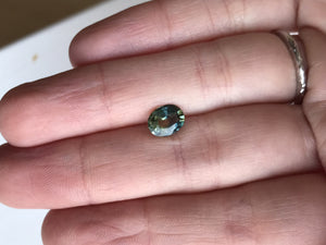 Custom Order- 1.28ct Parti Blue Green Oval Sapphire for custom ring, reserved for A.