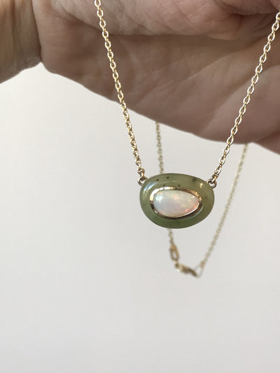 Opal and Green Jade Necklace in 14k Yellow Gold