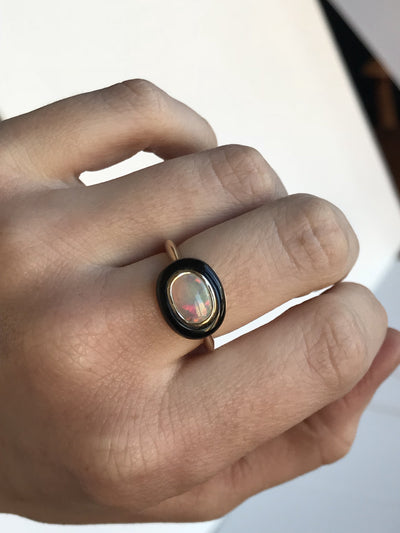 Opal and black jade cabochon ring in 14k Yellow Gold