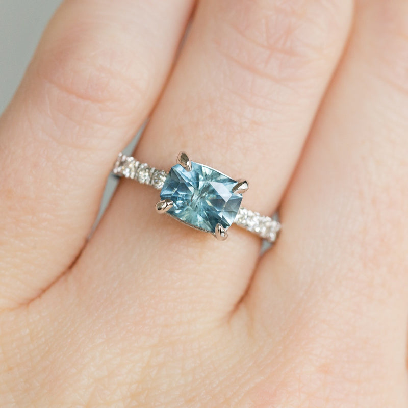 Low Profile Solitaire with French Set Diamonds in Band - Setting