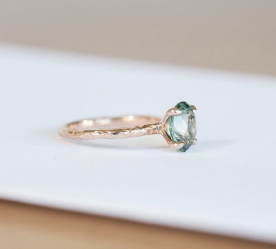 Custom Order-  Poval Teal Sapphire in 4 Prong Solitaire Setting - Reserved for A.Y
