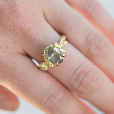 2.14ct Oval Grey Diamond Prong Set Mermaid Solitaire Ring in 18k Yellow Gold