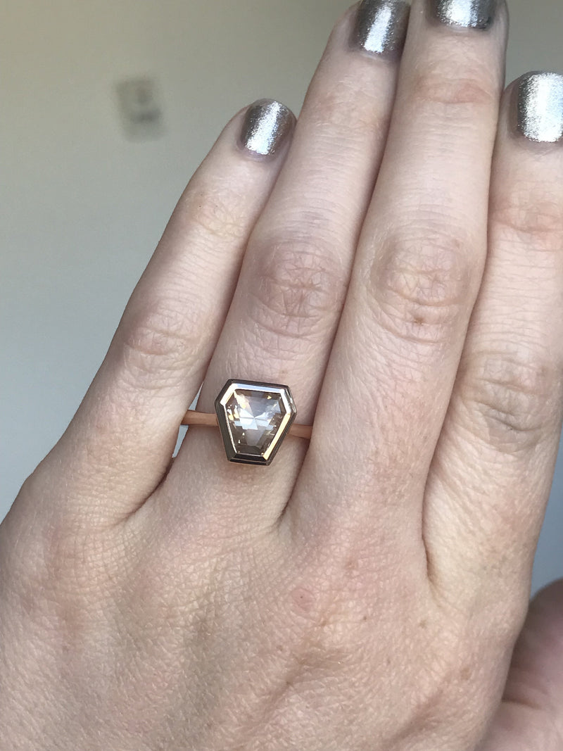 Geometric Sunstone Bezel Set 14k Rose Gold Ring