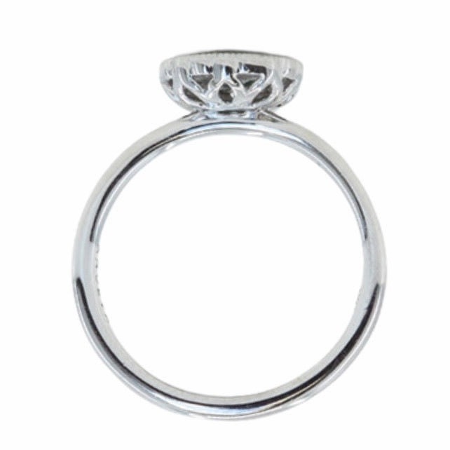 0.53ct Pear Sapphire and Scalloped Antique Style Diamond Halo Ring in 14k White Gold