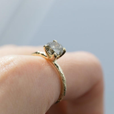 1.28ct Dark IGI Salt and Pepper Diamond Evergreen 4 Prong Solitaire in 14k Yellow Gold