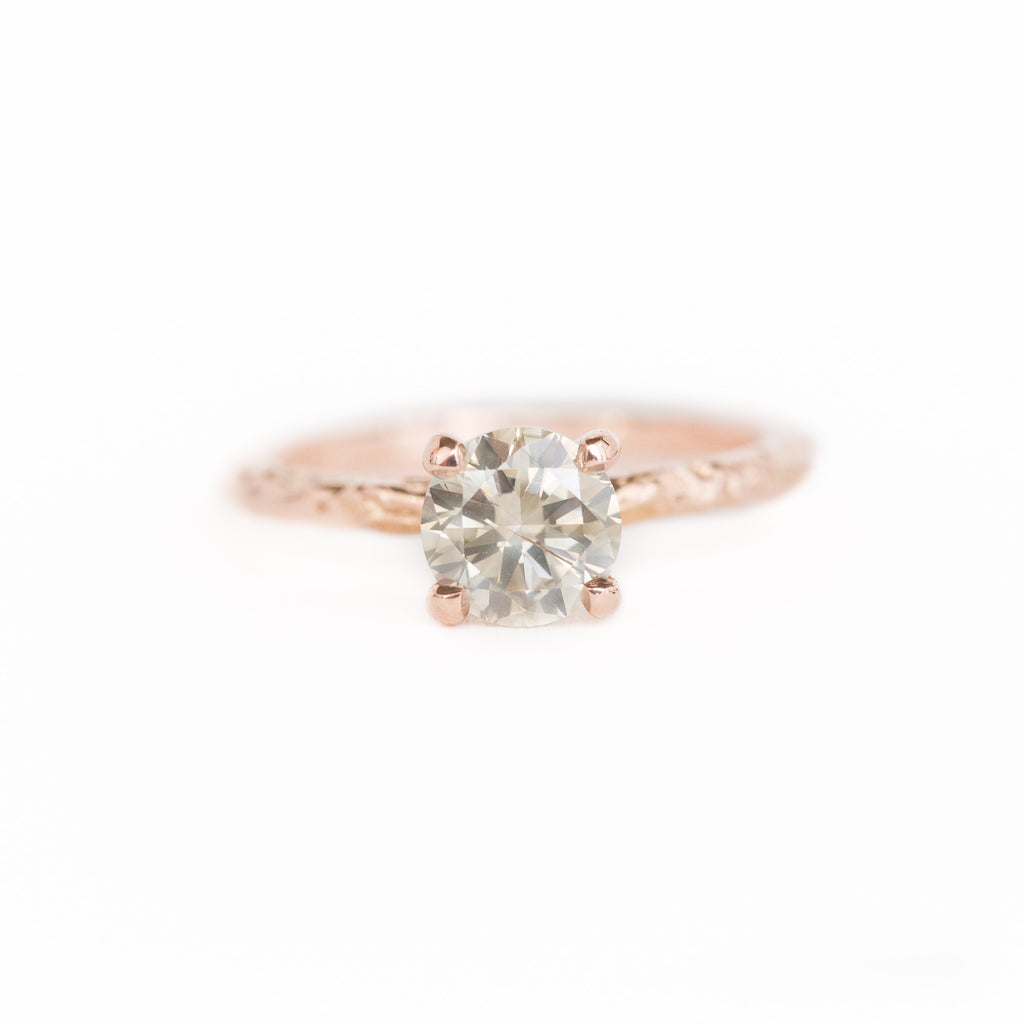 1.02ct Grey-Champagne Diamond Solitaire in 14k Rose Gold Evergreen Solitaire
