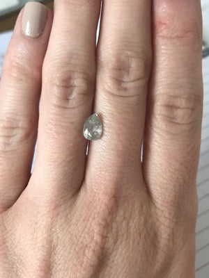 Custom Order-  Rose Gold Grey Pear Diamond Engagement Ring