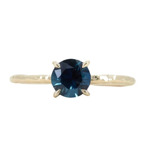 1.03ct Round Blue Australian Sapphire Evergreen Solitaire in 14k Yellow Gold