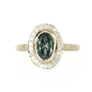 Oval Bezel Set 1.68ct Teal Blue Green Sapphire in 14k Yellow Gold Evergreen Halo