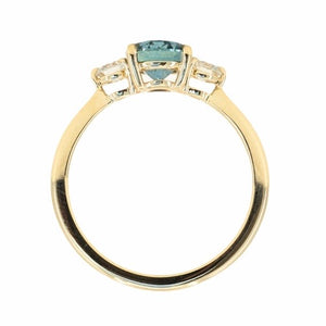 1.54ct Oval Montana Sapphire and Diamond Three Stone Ring in 14k Yellow Gold