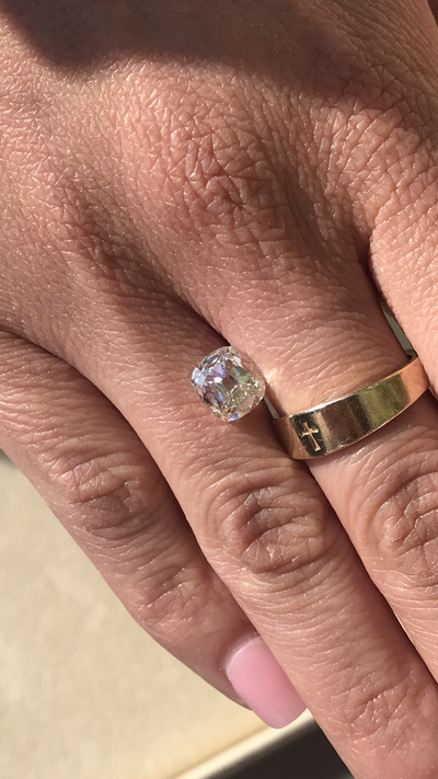 Custom Order: 1.54ct Modern Old Mine Cushion Cut Diamond Ring in 18k. Reserved for S.