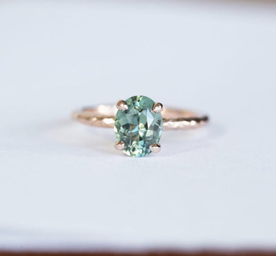 2.28ct Oval Teal Sapphire in 14k Rose gold Evergreen 4 Prong Solitaire Setting