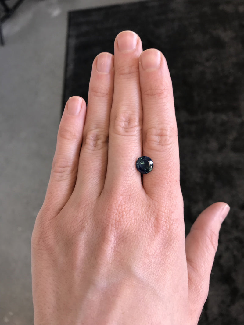 Custom Order- 2.3ct Natural Blue Sapphire and Trillion Diamond Ring. Reserved for M.