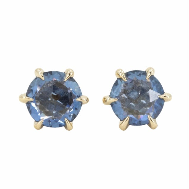 1.63ct Rosecut Ceylon Sapphire six prong stud earrings in 14k Yellow Gold