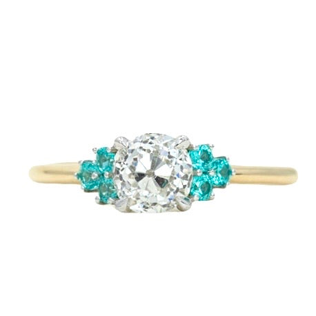 0.95ct Antique Old European Cut Diamond and Teal Garnet Two Tone Cluster Ring in 14k White and Yellow Gold