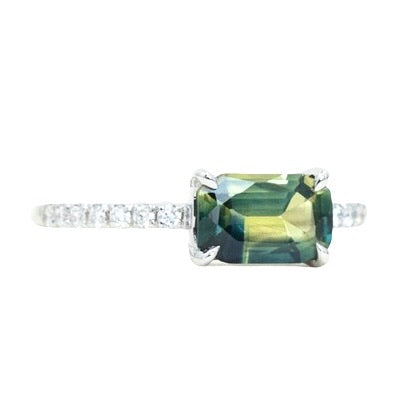 1.17ct Emerald Cut Parti Sapphire and diamonds in 14k White Gold Low Profile