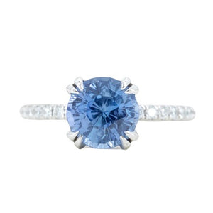3.18ct Round Periwinkle Sapphire Solitaire with Diamonds in Platinum