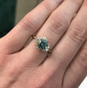 1.52ct Montana Sapphire and Asymmetrical Diamond Cluster Ring in 14k Yellow Gold