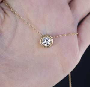 0.58ct GIA Old Transitional Diamond Yellow Gold necklace