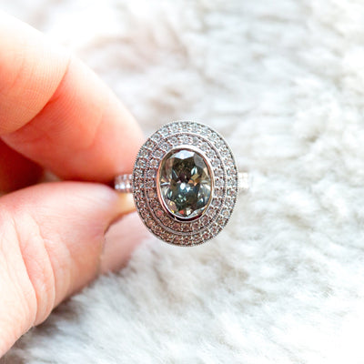 oval grey big double halo diamond 2ct alternative engagement right hand ring