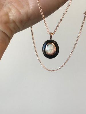 Opal and Black Jade Pendant in 14k Rose Gold, with chain