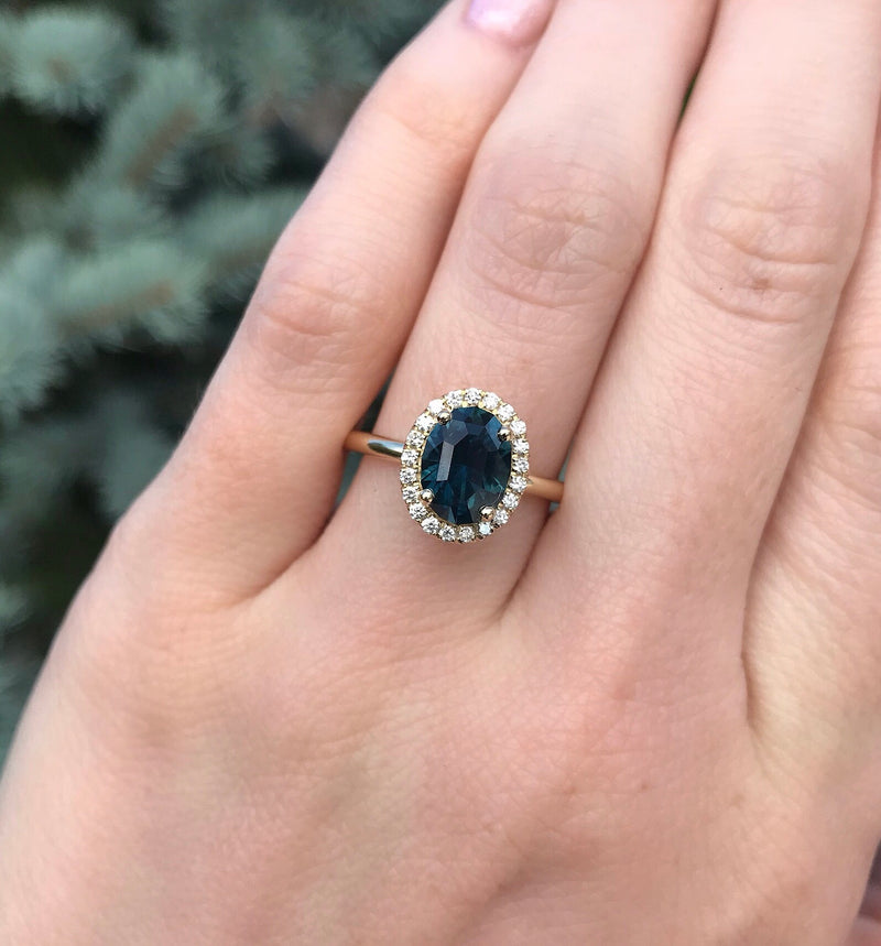 2.29ct Oval Blue Montana Sapphire Diamond Halo In 14k Yellow Gold