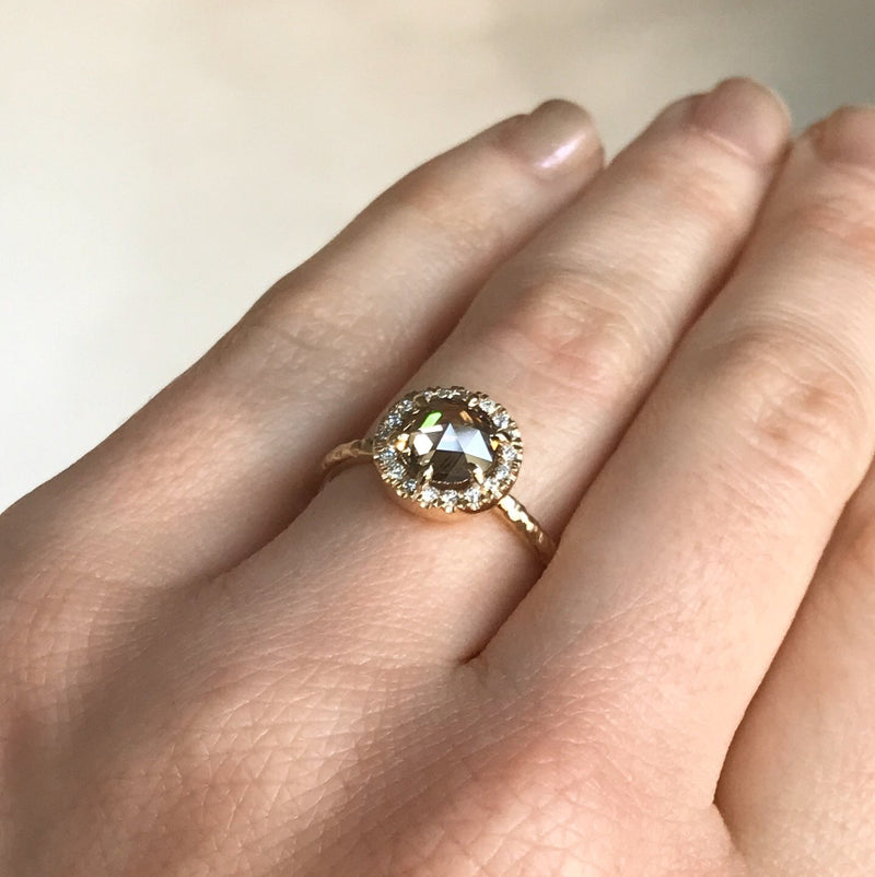 1.12ct Cognac Brown Rosecut Diamond in 14k Yellow Six Prong Low Profile Halo Evergreen Setting