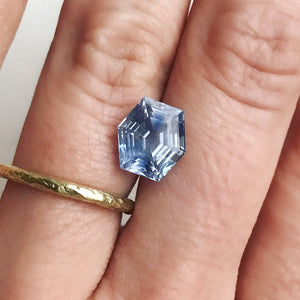 Custom Order- 3.64ct Hexagonal Vintage Repurposed Sapphire Ring in 18k White Gold