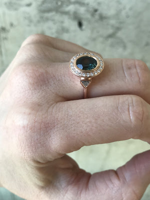 Custom Order- Final Listing for 2.18ct Oval Sapphire and Diamond Ring. Reserved for K.
