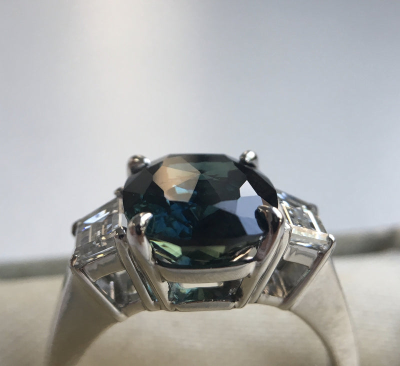 4.41ct Teal Crown Jubilee® Cut Cushion Sapphire and Diamond Three Stone Ring