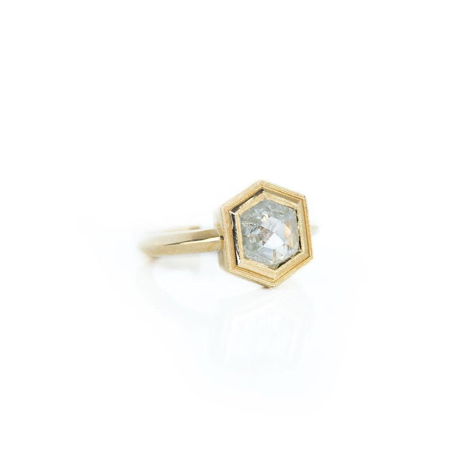 1.22ct Hexagon Rosecut Diamond Bezel Set Ring in 14k Yellow