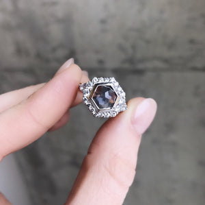 2.15ct hexagon rosecut Montana Sapphire ring in prong set halo with tapered white diamonds