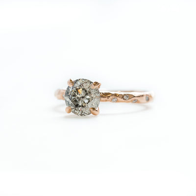 Custom Order-  1.51ct Salt and Pepper Diamond in 18k Diamond Studded Evergreen Solitaire Reserved for R.