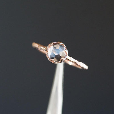 0.74ct Rosecut Peach Montana Sapphire in 6 Prong 14k Rose Gold Low Profile Evergreen Setting